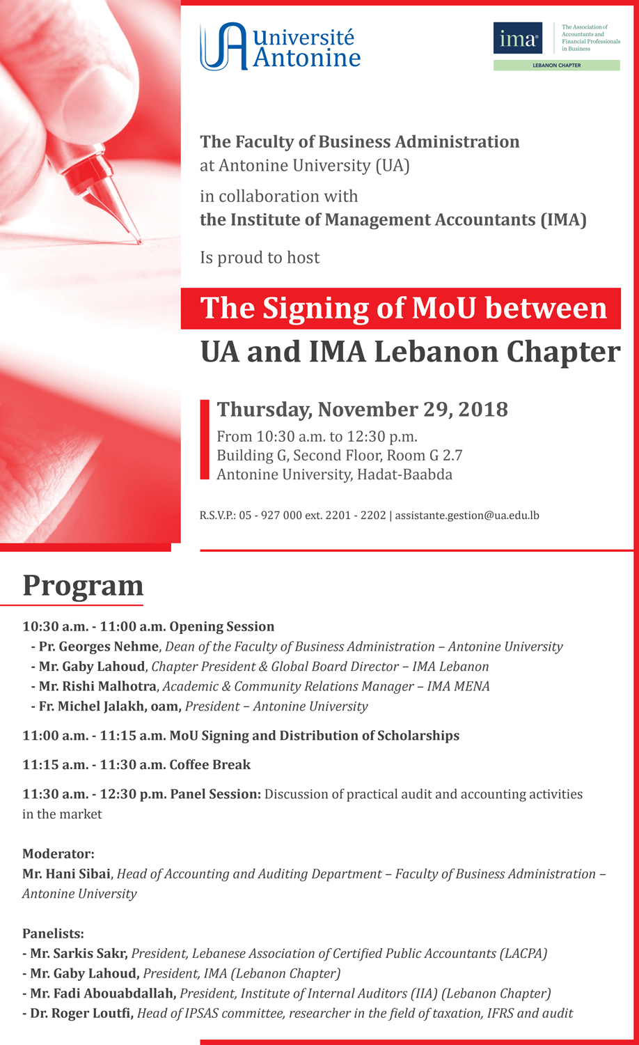 The Signing of MoU between UA and IMA Lebanon Chapter